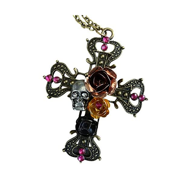 Victorian Steampunk Sugar Skull necklace Zombie Day of the dead pendant charm cross 4