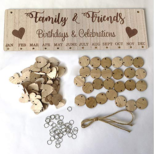 Lipoipo Family Birthday Hanging Plaque Board DIY Birthday Wooden Calendar Birthday Reminder Home Decor Anniversary Wood Board with 50 Wood Discs (Multicolor)