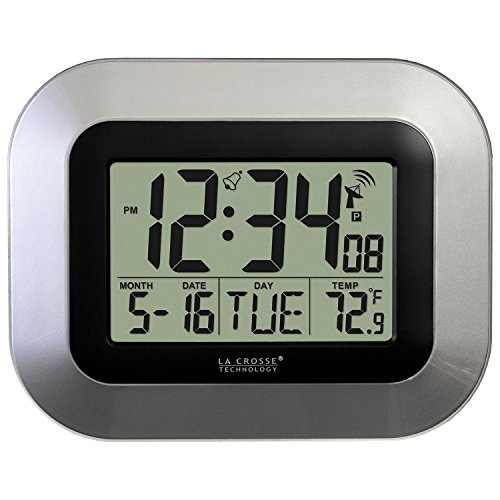 La Crosse Technology WT-8005U-S Atomic Digital Wall Clock with Indoor Temperature, Silver (Lacrosse Technology Wall Clock)