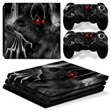 OKFCUS Skull Flame Vinyl Decal Skin Sticker for PS4 Pro Console + 2 Controller Decal 1# Review