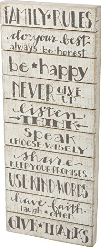 """Family Rules Slatted Sign - 30"""" by 12"""""""