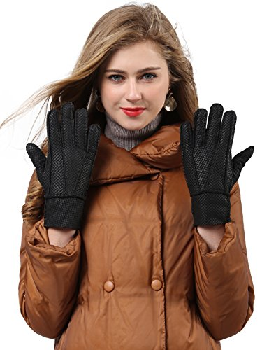 YISEVEN Women's Rugged Sheepskin Shearling Leather Gloves Two Points Mittens Sherpa Fur Cuff Thick Wool Lined and Heated Warm for Winter Cold Weather Dress Driving Work Xmas Gifts, Black ()