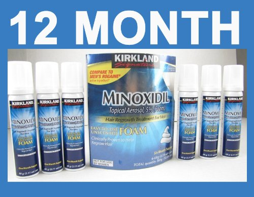 Kirkland Minoxidil for Men Hair Regrowth Treatment, Easy-to-Use Foam, 12 x 2.11Oz (12 Month Supply) by Kirkland Signature