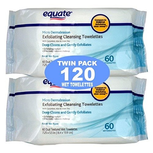 Price comparison product image Equate Exfoliating Wet Cleansing Towelettes with Cucumber, Aloe and Green Tea - 120 Wet Towelettes
