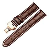 Raylans 18-25mm Genuine Leather Watch Band Replacement Steel Deployant Clasps Watch Strap for Men and Women,Rose Gold Buckle,Brown with white line,22mm