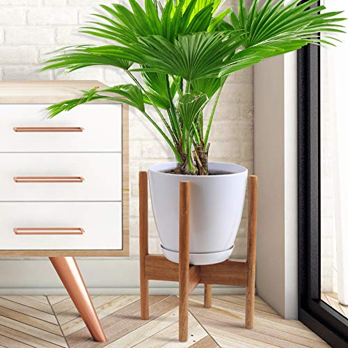 Glosom Indoor Plant Stand Including White Round Planter Pot Dia 8.4 - Mid Century Modern Plant Stand Acacia Wood