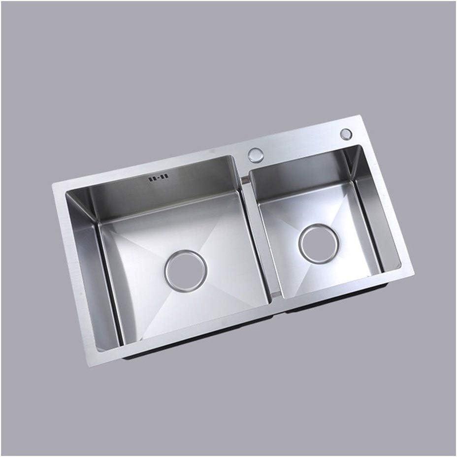 BDD Kitchen Sink Fixtures 2 Bowl Built-in Sink 60/40 Stainless Steel Basin Under Sink Composite Utility Sink