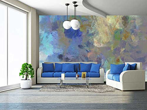 - wall26 - Art Abstract Acrylic Blue Background with Beige and Violet Blots - Removable Wall Mural | Self-adhesive Large Wallpaper - 100x144 inches