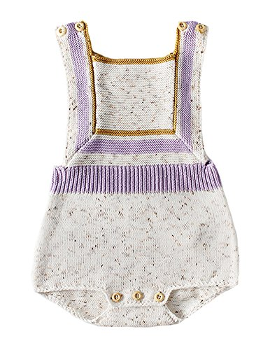 (Pinleck Newborn Baby Girls Knit Strap Romper Geo Graphic Striped Jumpsuit Bodysuit (Beige, 73/Fit 12 Months))