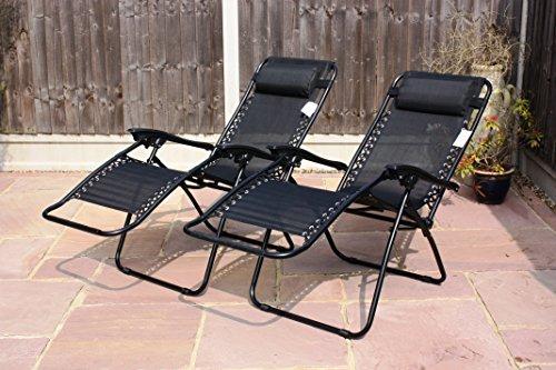 SET OF 2 GARDEN GRAVITY SUN LOUNGER FOLDING SUN BED RELAXING RECLINING  CHAIRS (Black): Amazon.co.uk: Garden U0026 Outdoors