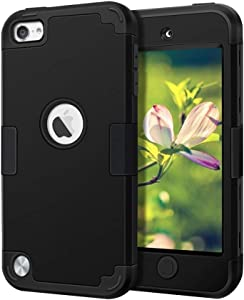 Case for iPod Touch 2019, iPod Touch 2020, New iPod Touch 7th 6th 5th Generation - CheerShare Protective iPod Touch Case Silicone Shockproof High Impact Layered Cover for iPod (Black+Black)