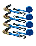 Powersports Industrial Grade Ratcheting Tie Down Straps - 4 Pack - 15 Ft - 1500 Lb Break Strength - 500 Lbs Load Capactiy, Used for Motorcycles, Bikes,Trikes-ATV-UTV, Trailer, Truck, Construction