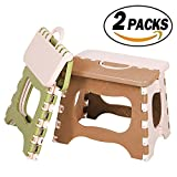 REVEW 2 Packs Folding Step Stool with Anti-Slip Surface and Handle Folding Stool Stepping Stool