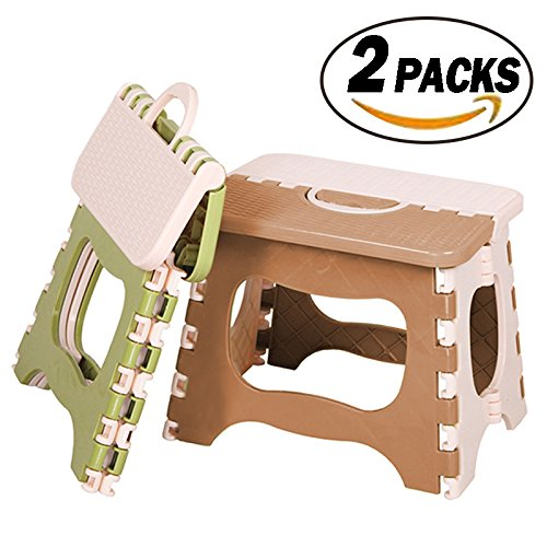 REVEW 2 Packs Folding Step Stool with Anti-Slip Surface and Handle Folding Stool Stepping Stool by REVEW