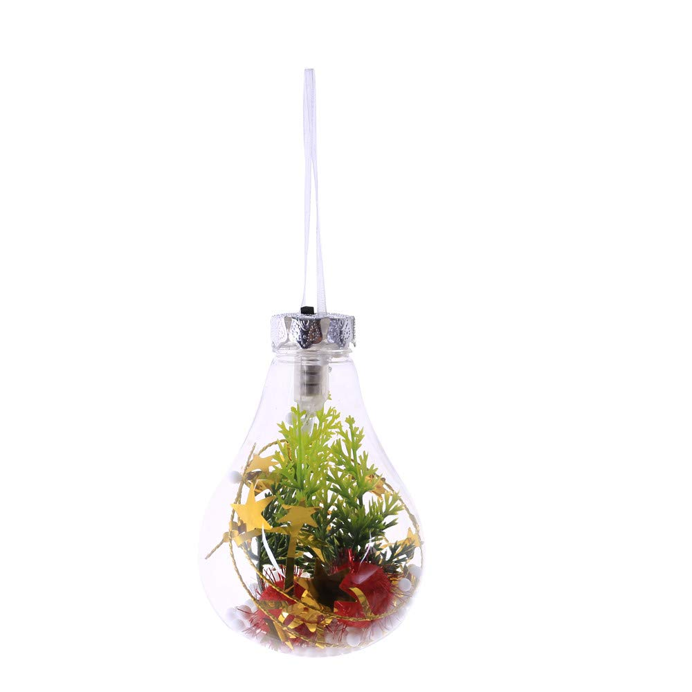 Renzhe Ornament Luminous Ball,Clear Fillable Baubles Christmas Tree Hanging Ornament Luminous Pendant Ball Years, Multicolor (A)