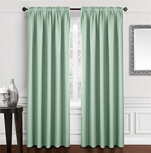 Dreaming Casa Solid Room Darkening Blackout Curtain For Bedroom 84 Inches Long Draperies Window Treatment 2 Panels Light Green Rod Pocket 2(42