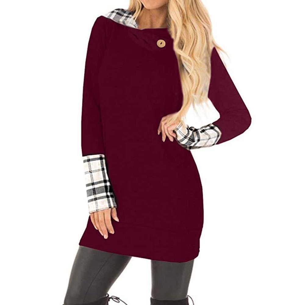 Ulanda Women's Long Sleeve Plaid Hoodies Tunic Sweatshirt Button Cowl Neck Casual Slim Blouse Hood Tops