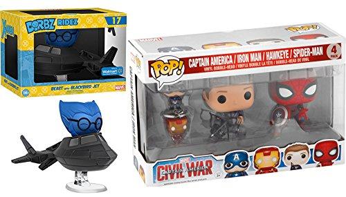 Marvel Spider-Man & Hawkeye Vinyl Figures Funko Pop! Collection + Dorbz Ridez X-Men, Blackbird Jet with Beast Exclusive #17 Civil War Captain America & Iron Man Pocket Keychain - 3 Black Men Agent In J