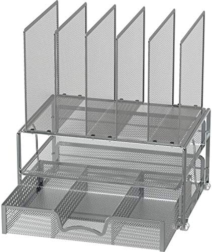 Silver Mesh Desk Organizer with Sliding Drawer Double Tray and 5 Stacking