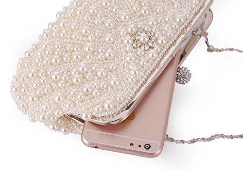 Women's Clutch White Handbag Crossbody Gorgeous KERVINFENDRIYUN Beaded Pearl Bag Commuter Purse Color White ATqgxS