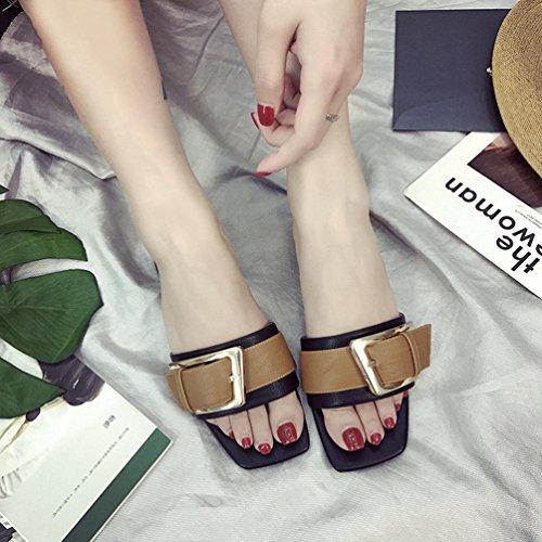Bout Noir Femmes Ouvert Tongs Élégantes Talons Mules Carré Sandales Épais Casual Claqettes à Chaussures HqaUTT0x