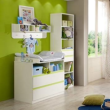 Babyzimmer junge grün  Babyzimmer Möbel Set weiß grün Wickeltisch Gitterbett Wickelkommode ...