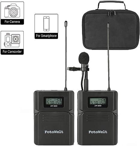 Pixel UHF Micrófono Lavalier Inalámbrico Micrófono de Grabación y ...