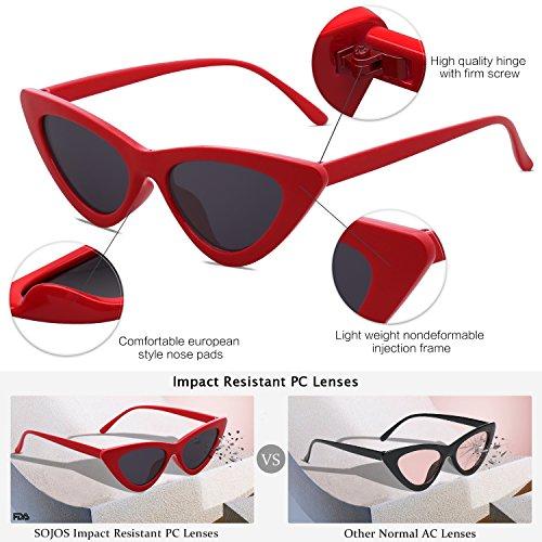 Gato Eye Ojo Moda SJ2044 Mujer Rojo C1 SOJOS Lente Chic Gafas De Sol Super De Gris Marco Cat IwxP7Y47qg