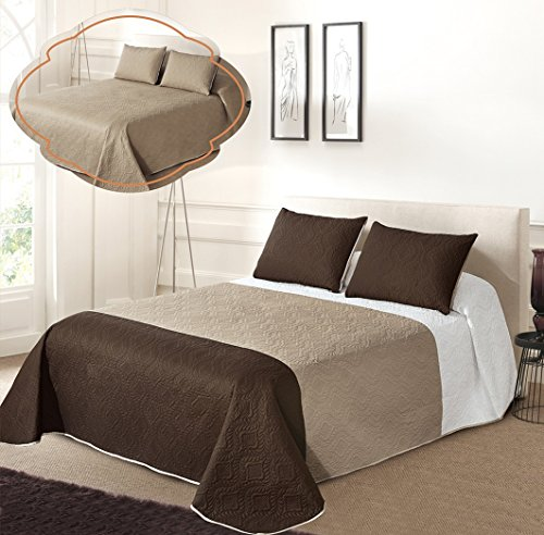 All American Collection New 3pc Solid Three Color Combination Reversible Bedspread Set (FULL / QUEEN, White/Beige/Coffee