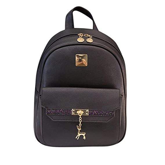 Mochila Mujers, Manadlian Bolso mochila escolar para mujeres Mochila impermeable nylon de moda para las niñas (24cm(L)*12cm(W)*31cm(H), Negro): Amazon.es: ...