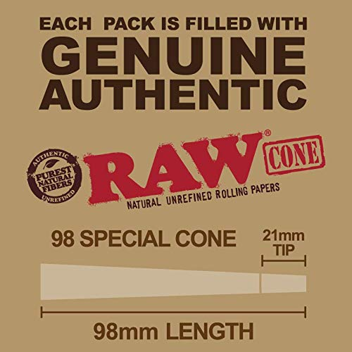 RAW Pre Rolled Cones 98 Special: 100 Pack |Rolling Papers with Filter Tips | Clean & Slow Burning RAW Cone | Bonus Doob Tube Included by Raw, The Green Blazer (Image #2)
