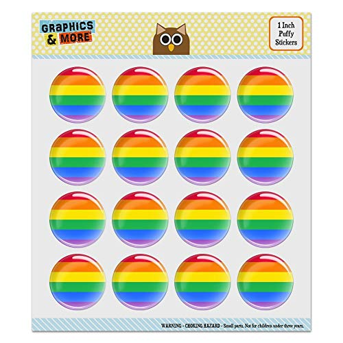 "Rainbow Pride Gay Lesbian Contemporary 1.0"" Puffy Bubble Dome Scrapbooking Crafting Sticker Set"