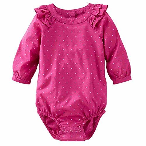 - OshKosh BGosh Infant Girls Pink Dot Romper Long Sleeve Bodysuit Creeper 24m