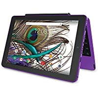 2018 Newest Premium High Performance RCA Viking Pro 10.1 2-in-1 Touchscreen Laptop Computer Tablet Quad-Core Processor 1G Memory 32GB Hard Drive Detachable-Keyboard Webcam Android 5.0 Lollipop-Purple