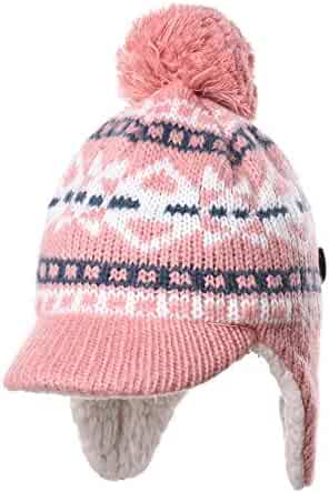 1bd32c503a3 WITHMOONS Knit Fleece Fairs Isle Nordic Ear Flap Pom Beanie Hat CR7500