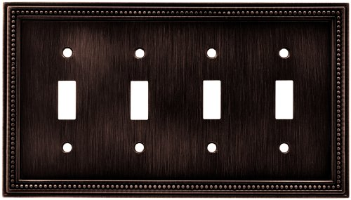 Brainerd 64404 Beaded Quad Toggle Switch Wall Plate / Switch Plate / Cover, Venetian (Bronze Cover Plate)