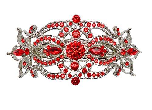 (Faship Gorgeous Red Rhinestone Crystal Big Floral Hair Barrette - Red)