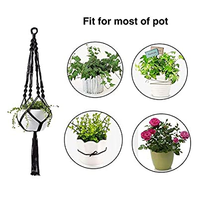 Jaxbo Plant Hanger Indoor Outdoor Hanging Planter Basket Cotton Rope, Macrame Plant Hanger, 2 Pcs 41'', Large (Black): Garden & Outdoor