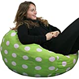 Oversized Bean Bag Chair in Chartreuse with White Polka Dots - Soft Cover ...