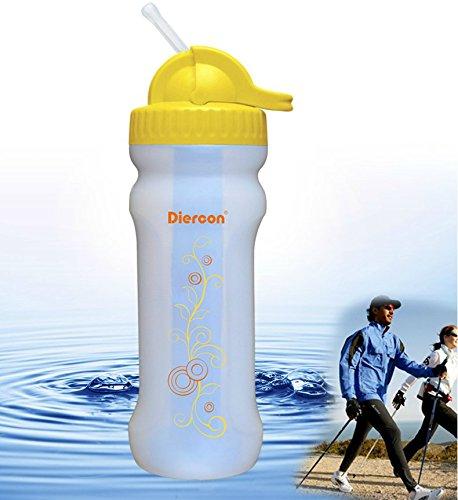 GEERTOP Diercon Botella Deportiva (600ml) Filtro de Agua Portátil - 1500L 99.9999% Tasa de Filtración - para Acampada Deport al Aire Libre y Supervivencia (Amarillo)