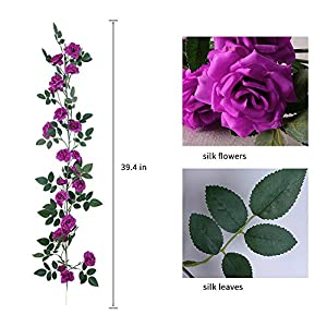 YUYAO 3PCS(9.9FT) Artificial Rose Vines Fake Silk Flower Garlands Plant Hanging Rose Vine Garland Wedding Home Garden Arch Arrangement Decoration (Purple) 4