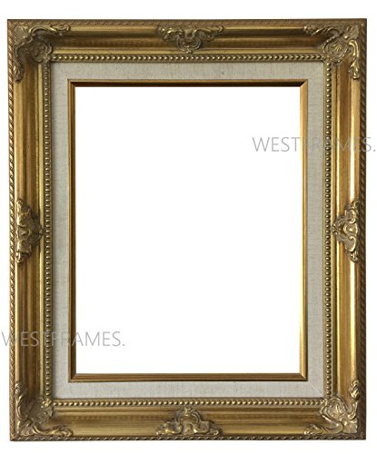 West Frames Estelle Antique Gold Leaf Wood Picture Frame with Natural Linen Liner (11