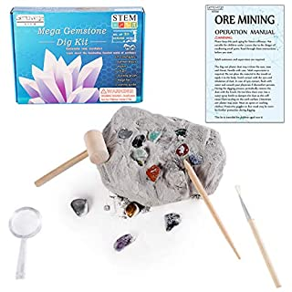 Gemstone Crystal Rock Dig Kit - Science Experiments Toy, Great Educational STEM Gift , Excavate 20 Real Gems Fossils Treasure Geode, Age 4 5 6 7 8 9 10 11 12 Year Old for Kids Boys Girls