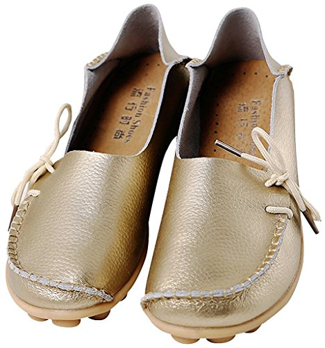 Flat ONS Gold Women's 1 Sty Shoes Loafers Slip Leather Cowhide Slipper Fangsto qUwfa4W