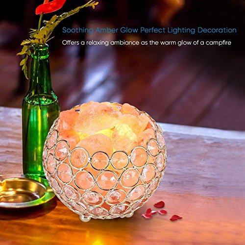 -[ Himalayan Salt Lamp Natural Pink Crystal Rock Salt Lamp Bowl 2x15W Bulbs Replacement, Dimmer Con