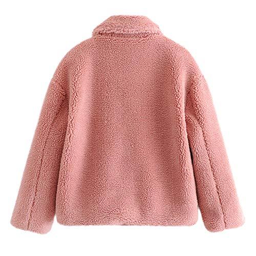 Outercoat Solido Camicetta Cappotto Top Della Cardigan Giacca Tasche Donne Rosa Spesso Cappotto Inverno Hooudo Caldo Casual Moda TqAa0w7Rw