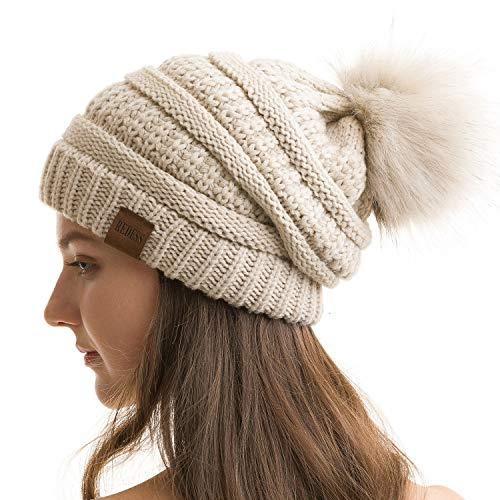REDESS Women Winter Pompom Beanie Hat with Warm Fleece Lined, Thick Slouchy Snow Knit Chunky Baggy Skull Ski Cap