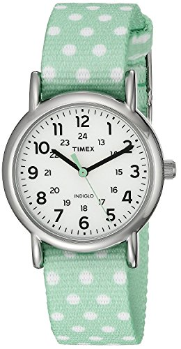 Timex Women's TW2P655009J Weekender Silver-Tone Watch with Reversible Mint Nylon Band