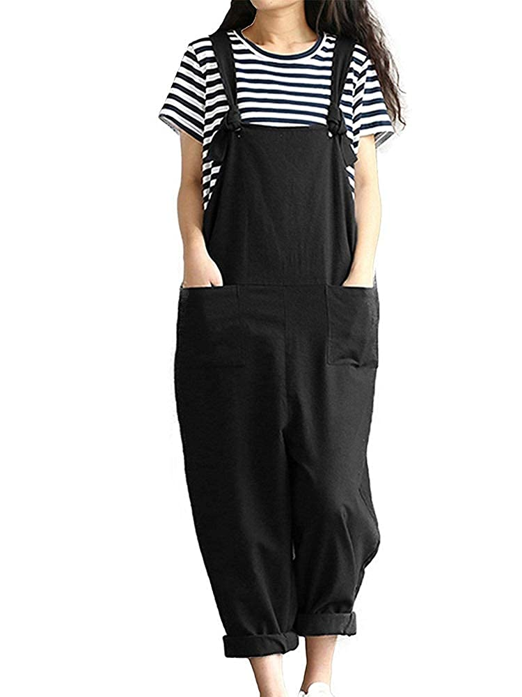 Sobrisah Womens Retro Loose Casual Jeans Dungarees Sleeveless Playsuit Ankle Length Denim Overall Jumpsuit