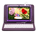 iRULU eXpro X1 7 Inch Quad Core Google Android Tablet PC, 1024x600 Resolution, Wi-Fi, Games, Dual Cameras, 8GB Nand Flash with keyboard (Purple Tablet)